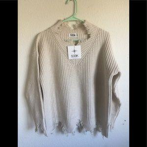 LF cream oversized distressed turtleneck sweater